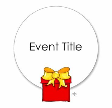 Hand drawn colour illustration of a circle sign with event title written on it and a red box with bow in front of sign.