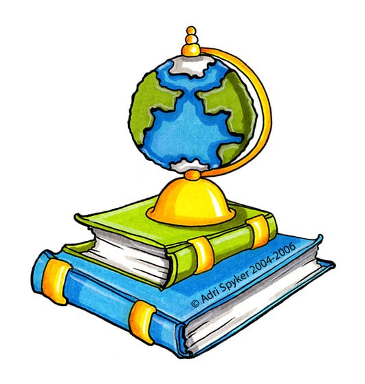 Hand drawn colour illustration of a globe sitting on books.